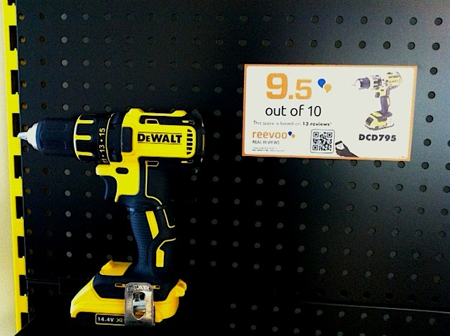 DeWalt showrooms use Reevoo social ratings to help sell drills. Boring? Yes and No!