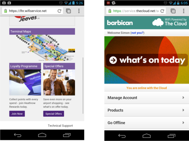Heathrow and The Barbican Arts Centre are some of only a handful of spaces using wifi to promote services